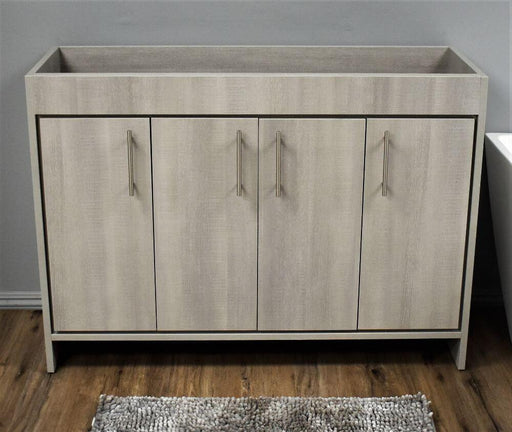 "Vanity - Villa 48"" Modern Bathroom Vanity In Weathered Grey With Stainless Steel Round Hollow Hardware Cabinet Only"