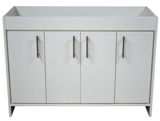 "Vanity - Villa 48"" Modern Bathroom Vanity In White With Stainless Steel Round Hollow Hardware Cabinet Only"