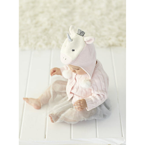 Soft Pink Unicorn Aviator Hat  (Fits Sizes 0-12M)