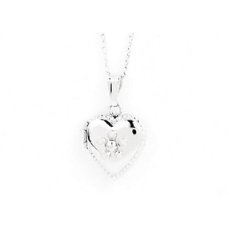 Child's Sterling Silver First Heart Locket Necklace