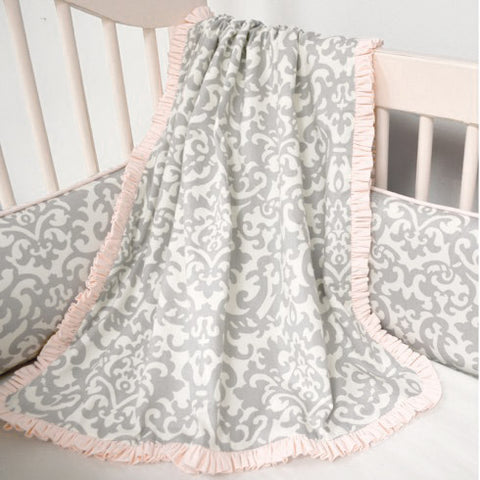 Platinum Damask Light Coral Jolie Nursery Blanket