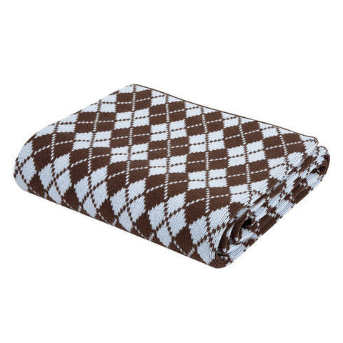 Chocolate/Blue Cold Weather Argyle Nursery Blanket