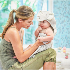 Baby's Grey Elephant Soft Hooded Bath Wrap