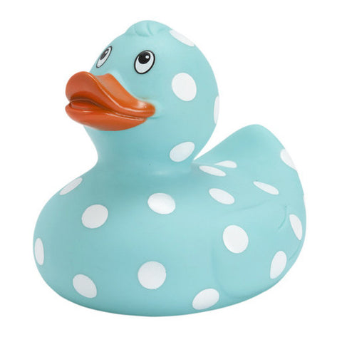 Classic Bathtime My Rubber Ducky in Aqua Blue Polka Dot