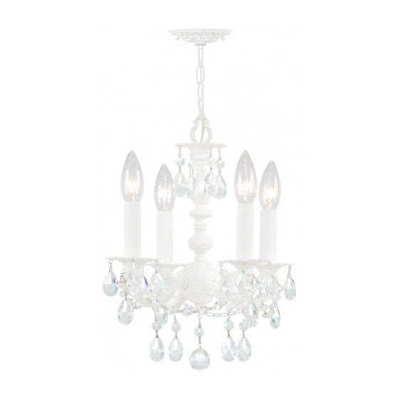 Wet White Paris Flea Market Petite Crystal Chandelier