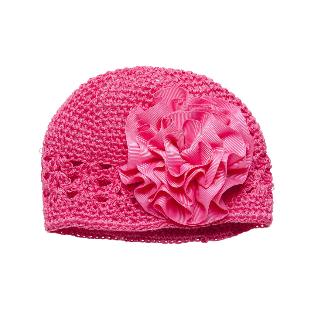 Grosgrain Rosette Soft Crocheted Hat, Dark Pink