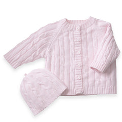 Cotton Cable Knit Soft Pink Cardigan Sweater & Beanie Set