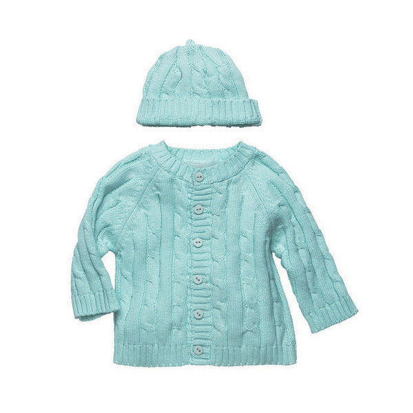Cotton Cable Knit Aqua Cardigan Sweater & Beanie Set