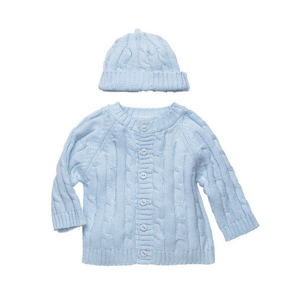 Cotton Cable Knit Light Blue Cardigan Sweater & Beanie Set