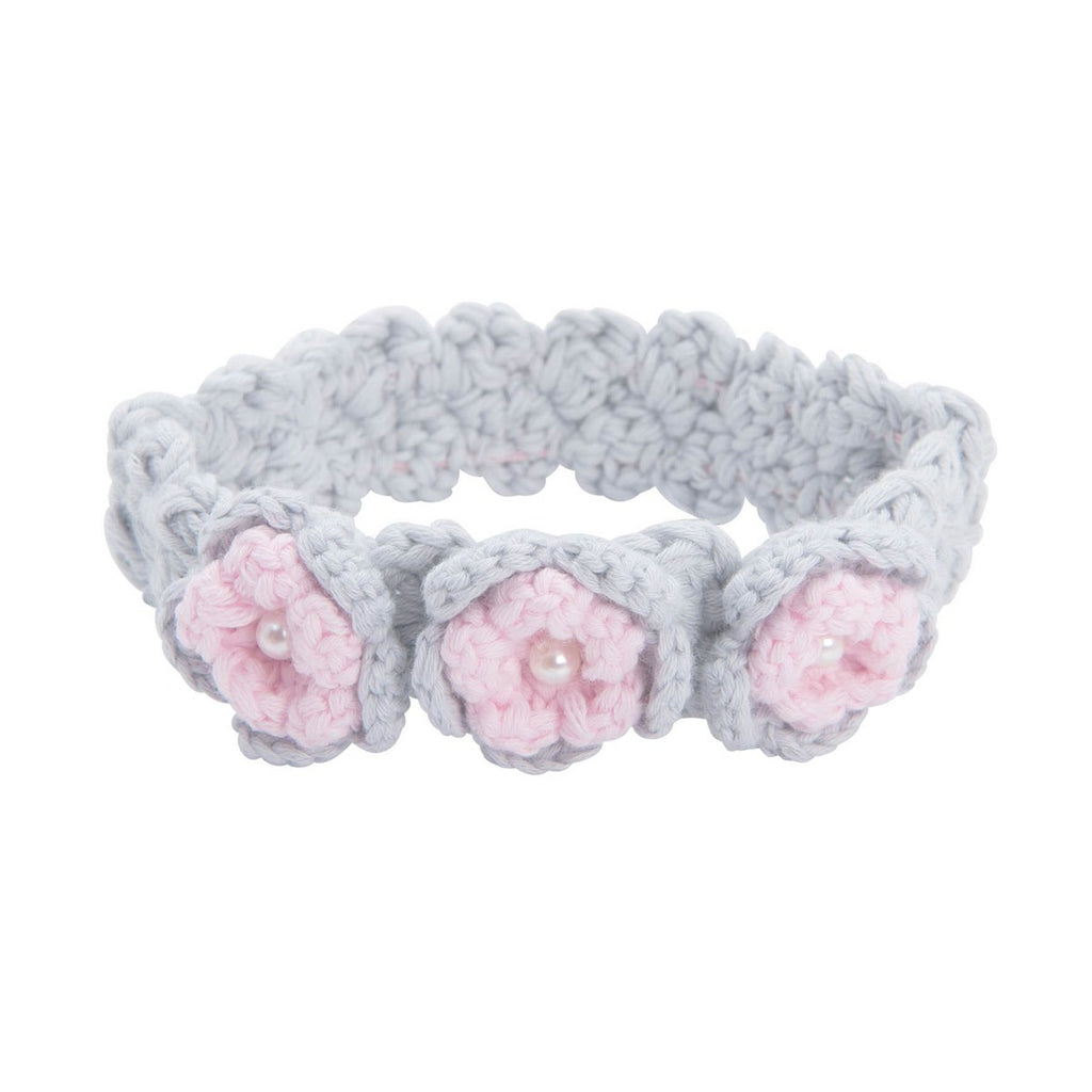 EB Soft Floral Trio Headband in Light Grey & Pink