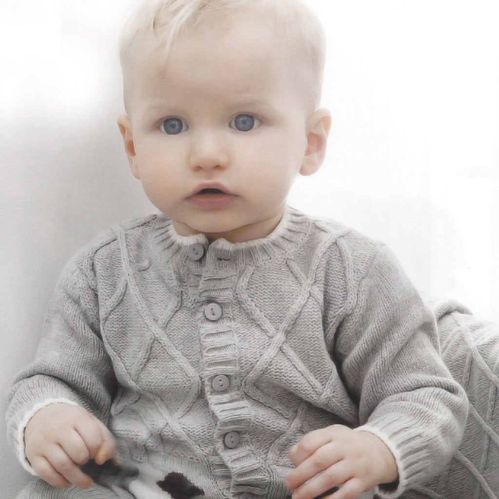 Light Grey Baby Lamb Lattice Cotton Cardigan Sweater