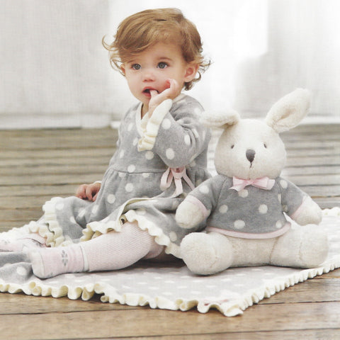Soft Bedtime Plush Bunny in Cotton Grey Knit