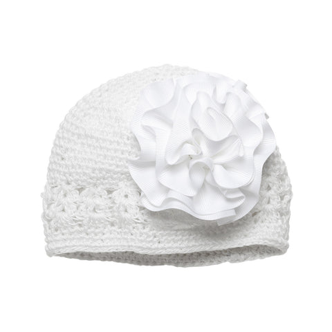 Grosgrain Rosette Soft Crocheted Hat in White