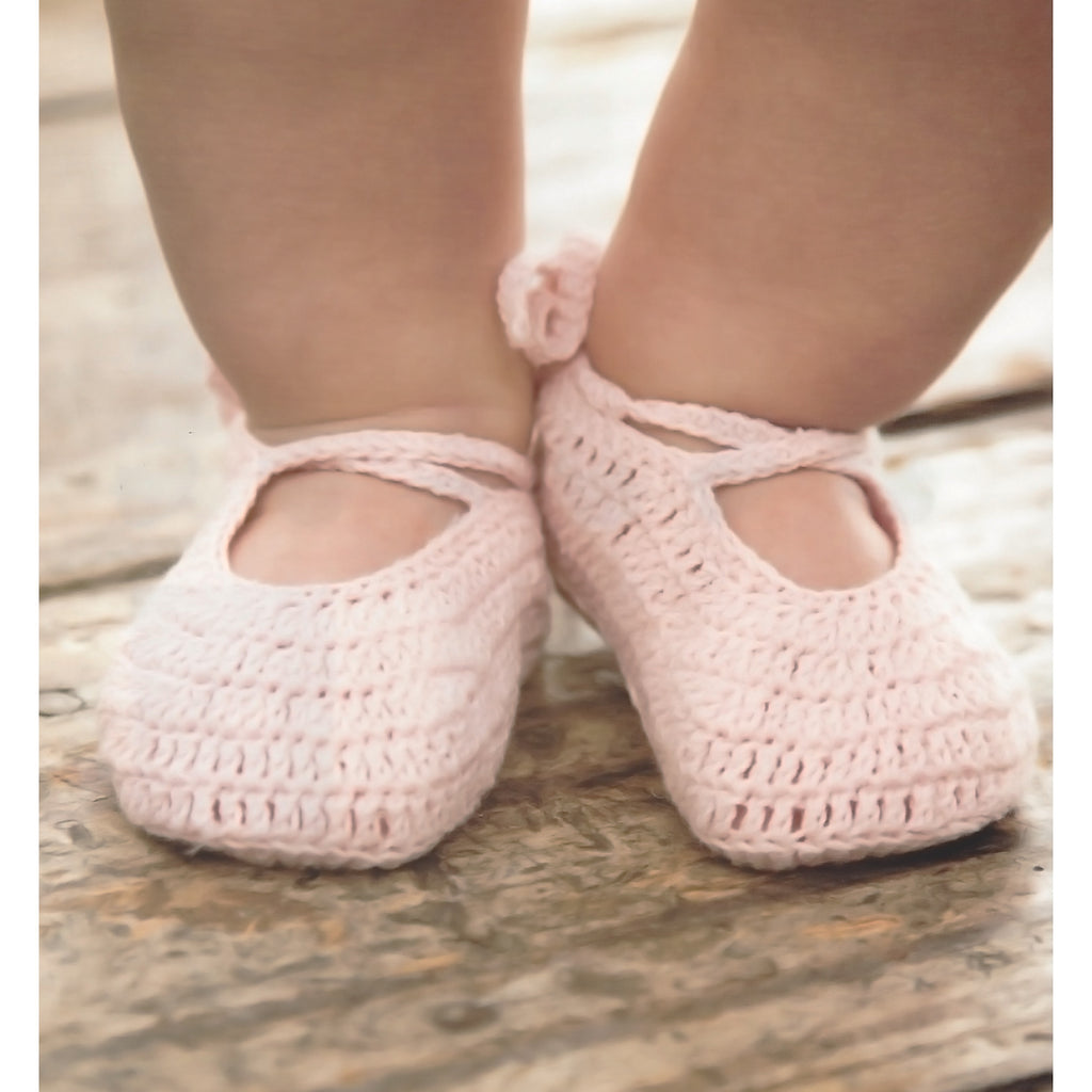 EB Ballerina Knit Baby Slippers in Soft Pink (One Size)