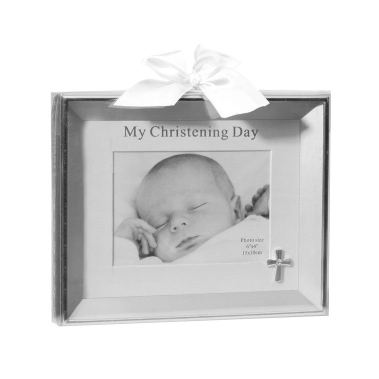 Silver Christening Day Matted Photo Gift Frame