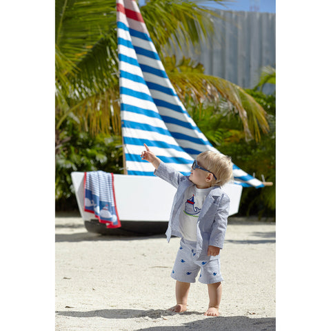 Boy's Nautical Seersucker Embroidered Sailing Outfit Set