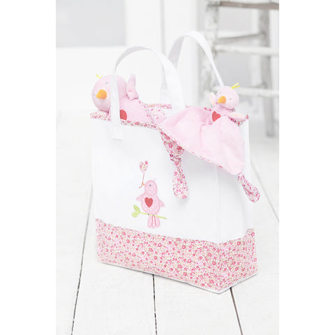 Love Bird Floral Appliqué Print Family Tote Bag