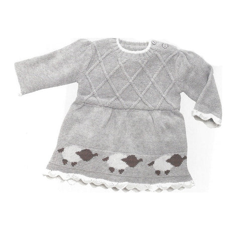 Light Grey Baby Lamb Lattice Cotton Sweater Dress