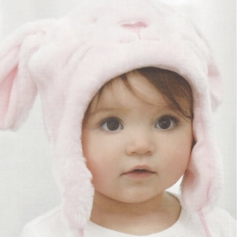 Plush Aviator Hat and Blanket Set In Pink Bunny