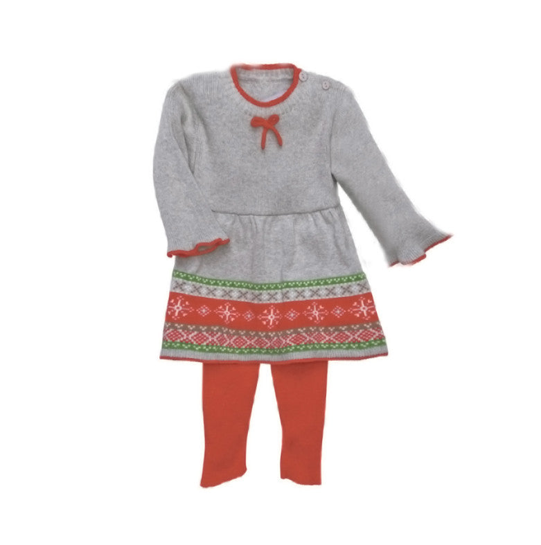 Warm Fair Isle Grey / Red Cotton Knit Sweater Dress