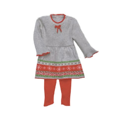 Winter Fair Isle Grey 100% Cotton Sweater Dress