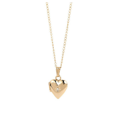 Little Girl's Gold First Keepsake Heart Locket Necklace