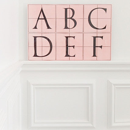 Vintage Alphabet Nursery Panel, Light Coral Pink