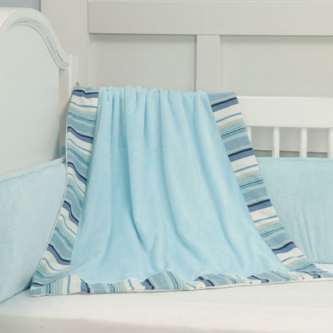 Hamptons Light Blue Stripe Luxury Nursery Blanket