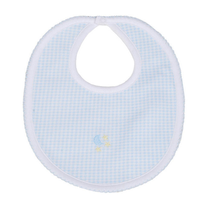 Kissy Kissy Blue Gingham Embroidered Moon & Stars Bib