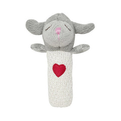 Elegant Baby Squeaky Lamb Heart Knit Toy Rattle