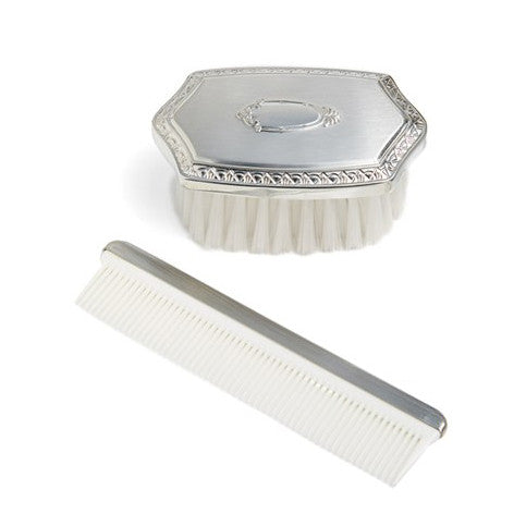 Boy's Luxury Embossed Pewter Brush & Comb Set