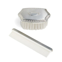 Boy's Embossed Pewter Brush & Comb Set