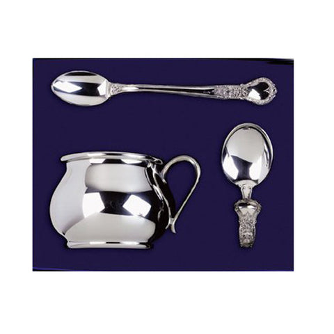 Polished Pewter Infant Cup & Spoon Elegant Gift Set