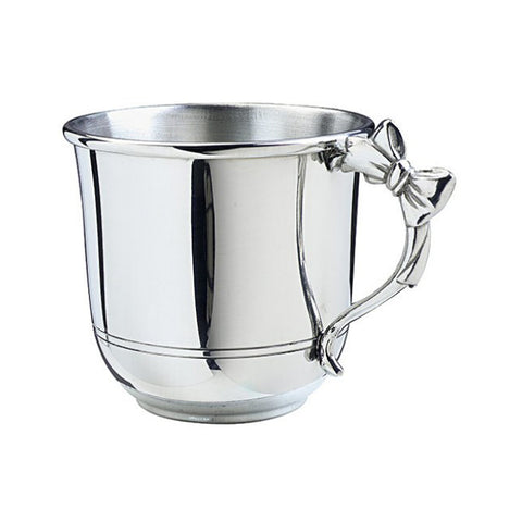 Luxury Polished Pewter Bow Handle Baby Cup