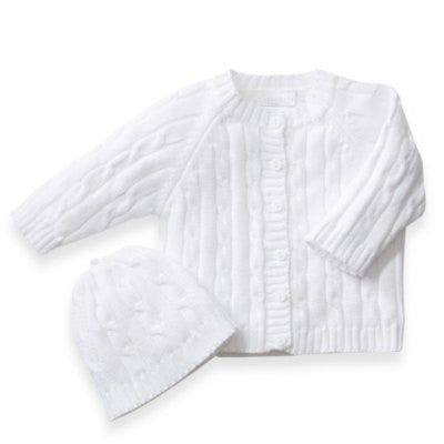 Cotton Cable Knit White Cardigan Sweater & Beanie Set