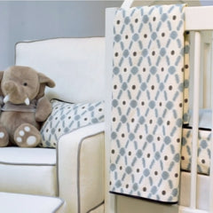 Velveteen Grey and Blue Ikat Luxury Nursery Blanket