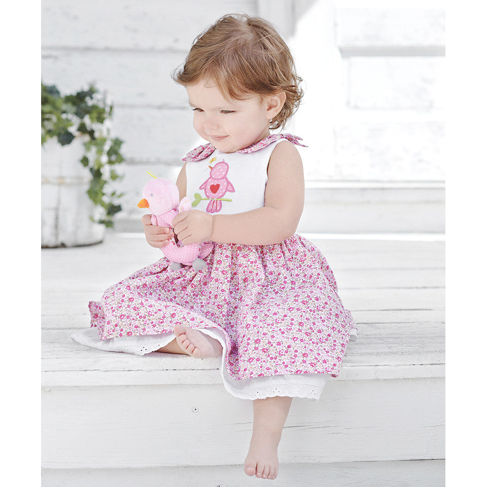 Love Bird Floral Print 100% Cotton Dress 6M 12M