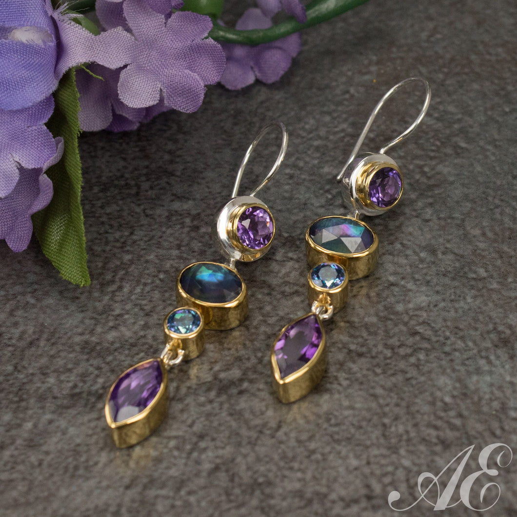 Sterling silver & 22K vermeil earrings with amethyst, blue topaz and moonstone