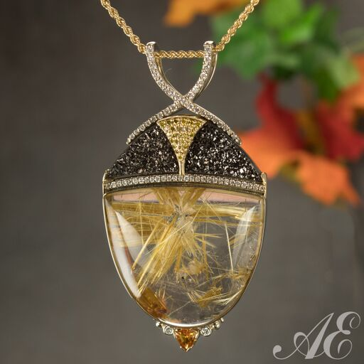 One of a kind - 14k gold two tone pendant with rutile quartz and druzy