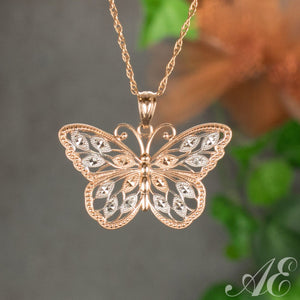 14k rose gold butterfly pendant
