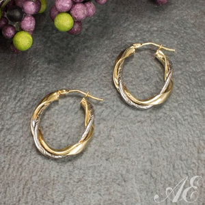 14k gold two tone oval twisted hoop earrings