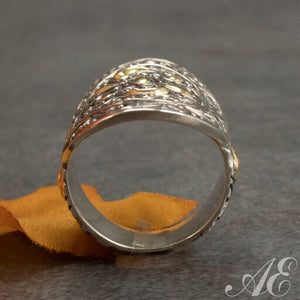 Sterling silver ring with 18K gold overlay
