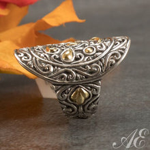 Load image into Gallery viewer, Sterling silver ring with 18K gold overlay
