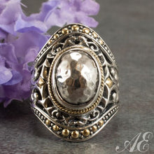 Load image into Gallery viewer, Sterling silver ring with 18k yellow gold
