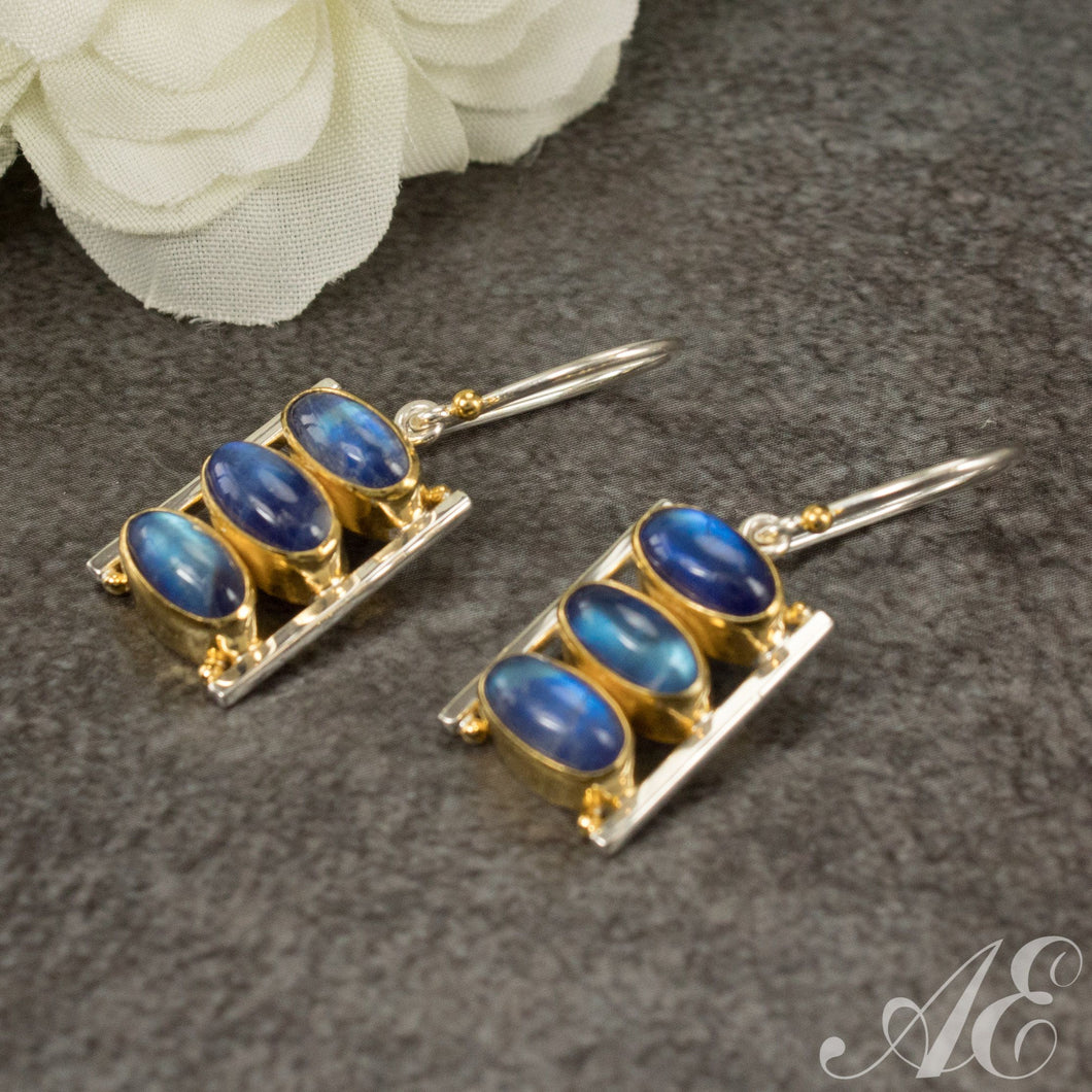 Sterling silver and 22k gold overlay earrings with blue moonstone