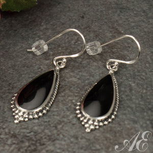 Half off - Sterling silver earrings with onyx