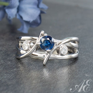 14K white gold ring with blue Ceylon sapphire and 0.37ctw diamonds