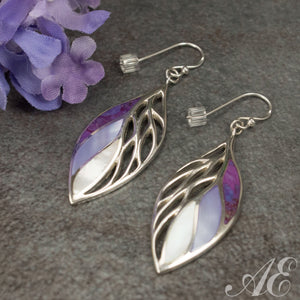 Half Off - Sterling silver earrings with purple turquoise and mother of pearl