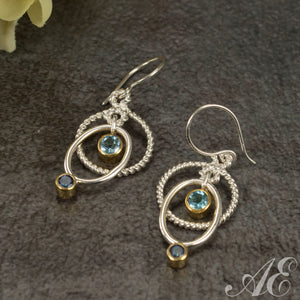 Sterling silver & 22K vermeil earrings with blue topaz and blue zircon