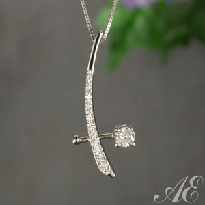 Half off - One of a kind - 14k white gold and diamond pendant